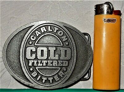 CARLTON Cold Filtered BITTER Beer BELT BUCKLE Solid Metal CUB United Breweries