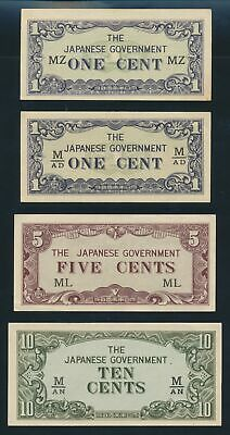 """Malaya: JAPANESE INVASION WWII 1942 1c to $10 """"SET OF 7"""". PM1a-M7c Cat UNC $43"""
