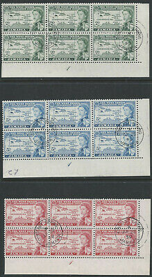 JAMAICA: 1958 Federation block of 6 CTO 2 cancels ( 2 scans ).