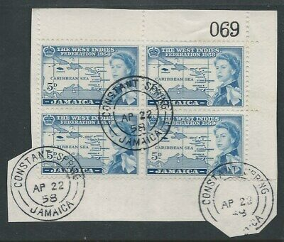 JAMAICA: 1958 Federation 5d blk 4 with nice cancels (069 sheet)  ( 2 scans ).