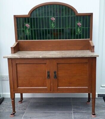 Antique Lovely Victorian Marble top Wash Stand With tiled back design