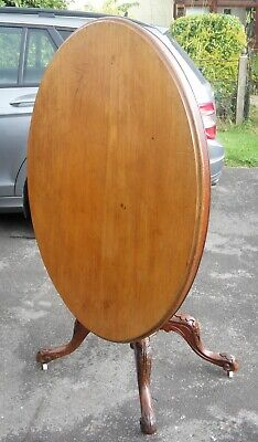 Antique Oval tilt top loo breakfast table with 2 broken legs lopsided but sturdy