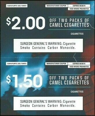6 - Camel Cigarette Coupons Save $10.50 Expires 9-30 &10-31