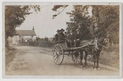 Early Postcard, Transport,  Men With Old Horse Drawn Cart, RP,