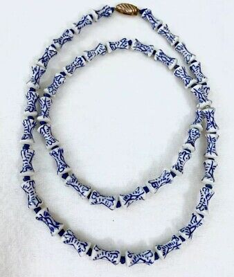 """Vtg Chinese Blue & White Porcelain Bead 28"""" Necklace ~Hour Glass Shaped ~Estate"""