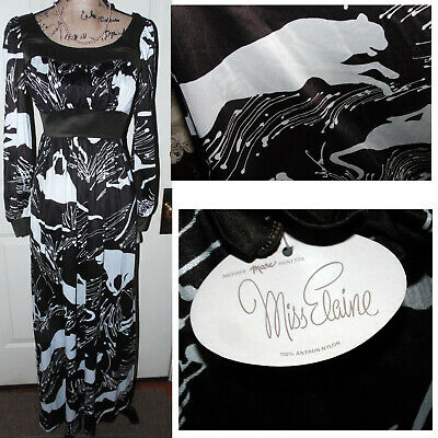 Vintage 1970s-Amazing Rare Brown White Wild Cat Novelty Deadstock Maxi Dress NWT