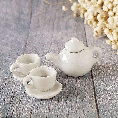 5 Piece Dollhouse Miniatures White Ceramic Tea Cup Set Doll Mini Teapot Saucers