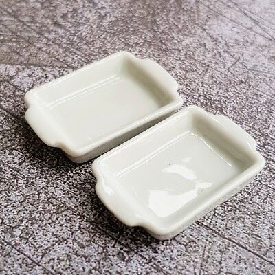 2x White Square Ceramic Tray Dollhouse Miniatures Food Groceries Supply Decor