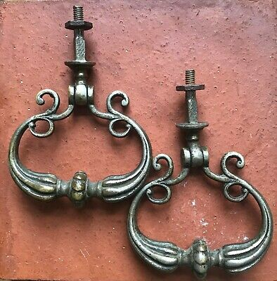 Pair of Beautiful Antique French Drop Handles. Approx 10cm x 7.5cm each each