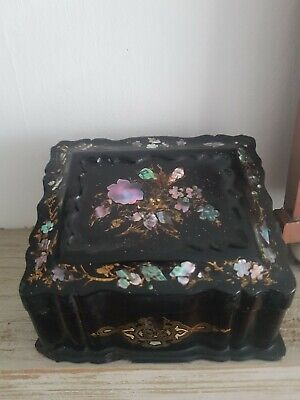19thC VICTORIAN PAPER MACHE MOTHER OF PEARL TEA CADDY.