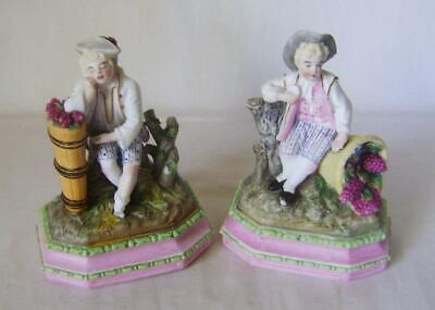 Pair C19th French Bisque Porcelain Figures: Grape Harvesters Resting A/F