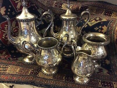 Antique Victorian Silver Plate Hand Chased Repoussé Tea Coffee Service Set