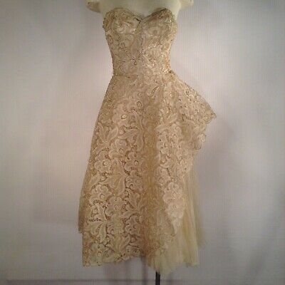 Vintage 50's Marshal Fields Gold Lace Dress Wedding Cocktail Small Medium