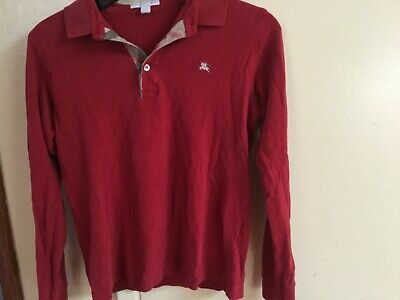 Burberry Red Long Sleeve Polo 14Y