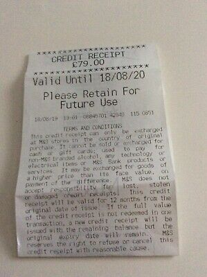 Marks and Spencer credit voucher receipt £79 valid for 1 year