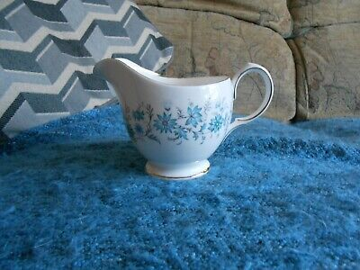 Colclough white with blue flower design bone china milk jug made in England used