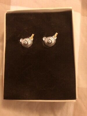 Vintage Rare 1993 Steiff sterling Silver Teddy Earrings Studs New In Box