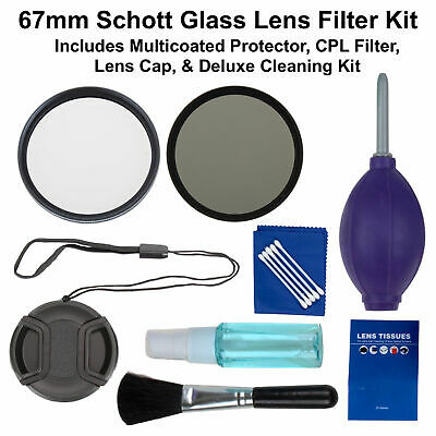 67mm Schott Glass Lens Filter Accessory Kit Protector & CPL for Canon Nikon DSLR