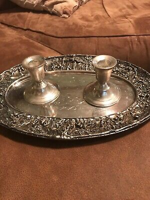 Vntg Pair Duchin Creations Sterling Silver Wt.  Candle Holders And Barbour Tray