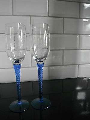 Unused Pair Of Hand Engraved Lovely Twisted Blue Stemmed Wine/Champagne Flutes.2