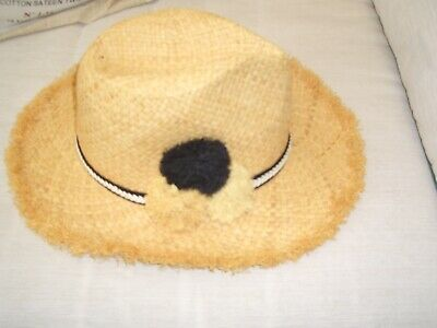 M&S Natural Straw Trilby Hat With Pompoms Size S-M