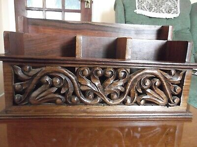 Antique style, carved, attractive large wooden letter rack, 5 compartments, VGC