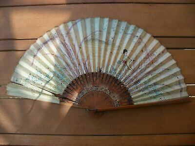 Antique Vintage Chinese Oriental Hand Fan Paper Bamboo Wood Damaged Unresearched