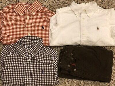 Lot Of 3 Polo Ralph Lauren Oxford Shirt Boys 2T And 2T Brown Pants