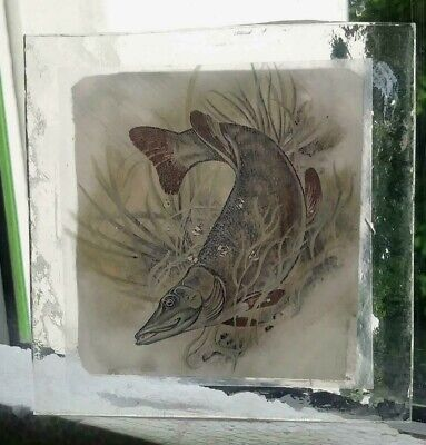 Stained Glass Pike Fish - Kiln fired hand rare fragment pane fishing!