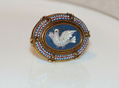 Victorian 14K Solid Yellow Gold Micro Mosaic Dove Bird Fine Tesserae Brooch Pin