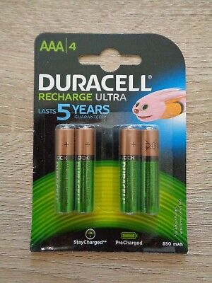 ***DURACELL RECHARGE ULTRA AAA NiMH 850mAh RECHARGEABLE BATTERIES / PACK OF 4***