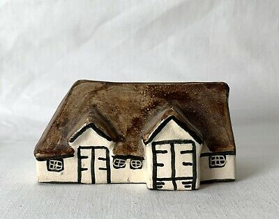 Vintage Heavy Studio Made Ceramic Plaster Painted Glazed Collector House 5D / SD