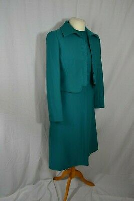 VINTAGE 1960s PEGGY FRENCH Couture jade green dress/jacket suit size 10/12