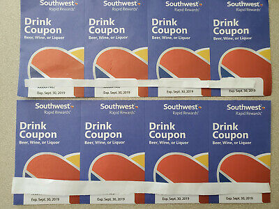 8 Southwest Airlines Mixed Cocktail/Beer/Energy Drink Coupons. Expire 9/30/19!