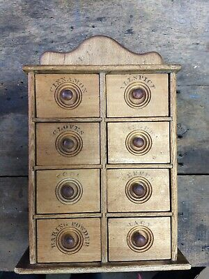 Antique 8 Drawer Stenciled Spice Cabinet/Box/Cupboard Apothecary wall table