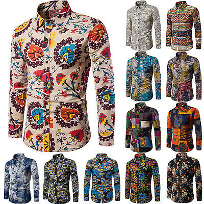 Vintage Floral Shirts Mens Casual Formal Slim Fit Shirt Top Long Sleeve Button