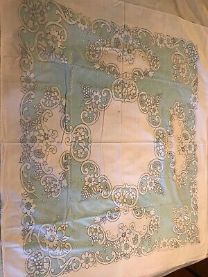 Beautiful Vintage Blue and White Tablecloth with a cool pattern