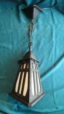 Antique ARTS CRAFTS Gothic CAST IRON Exterior PORCH LIGHT w/OffWhite SLAG GLASS