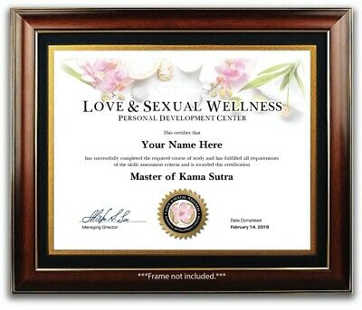 Master of Kama Sutra Certificate / Diploma - Love Sexual Wellness Sex Positions