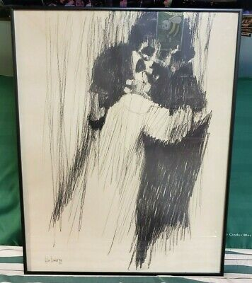 """Vintage Aldo Luongo, Framed Charcoal Lithograph """"Young Lover"""" 1969. Very Rare!!!"""