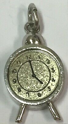 Vintage Sterling Silver Old-Fashioned Antique Alarm Clock Charm - 5 o'clock
