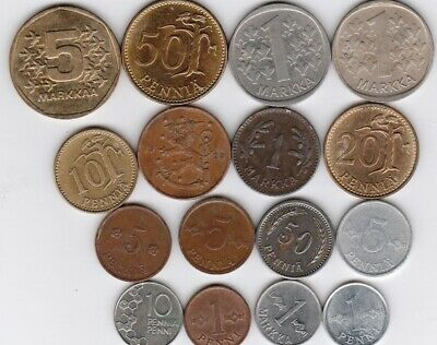17 different world coins from FINLAND some scarce
