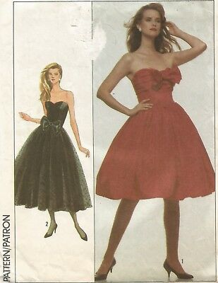 8482 Simplicity Sewing Pattern Party Dress Full Gathered Skirt Size 12 Vtg 1980s