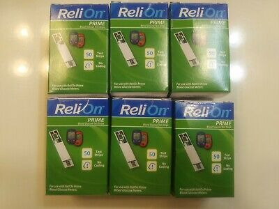 300 --ReliOn Prime Blood Glucose Test Strips - 50 Count ( 6 boxes) -12/2020