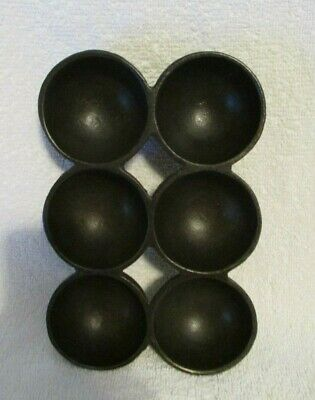 Vintage Wagner Ware Style L cast iron 6-cup Golf Ball Gem Pan