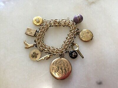 VICTORIAN GOLD FILLED LOCKETS FOBS CHARMS BRACELET Sterling Fragrance Ball