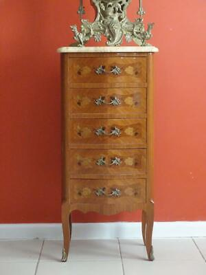 Antique French Louis XV Chest of Drawers Bedside table Stand Cabinet Walnut