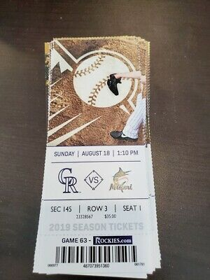 Colorado Rockies Miami Marlins MINT Season Ticket 8/18/19 2019 MLB Stub
