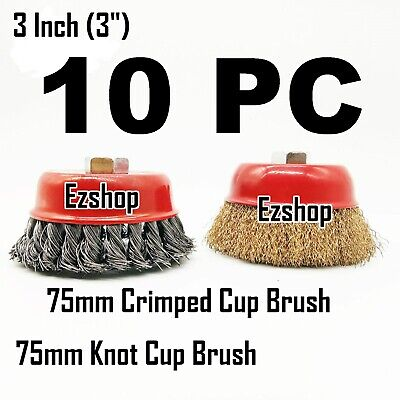 "10pc 3"" Twist Knot & 3"" Crimped Cup Wire 5/8""-11 Threaded Arbor Wire Cup Brush"