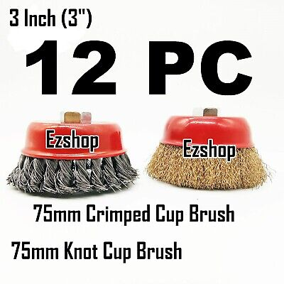 "12pc 3"" Twist Knot & 3"" Crimped Cup Wire 5/8""-11 Threaded Arbor Wire Cup Brush"